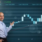 Businessman showing Stock market graph